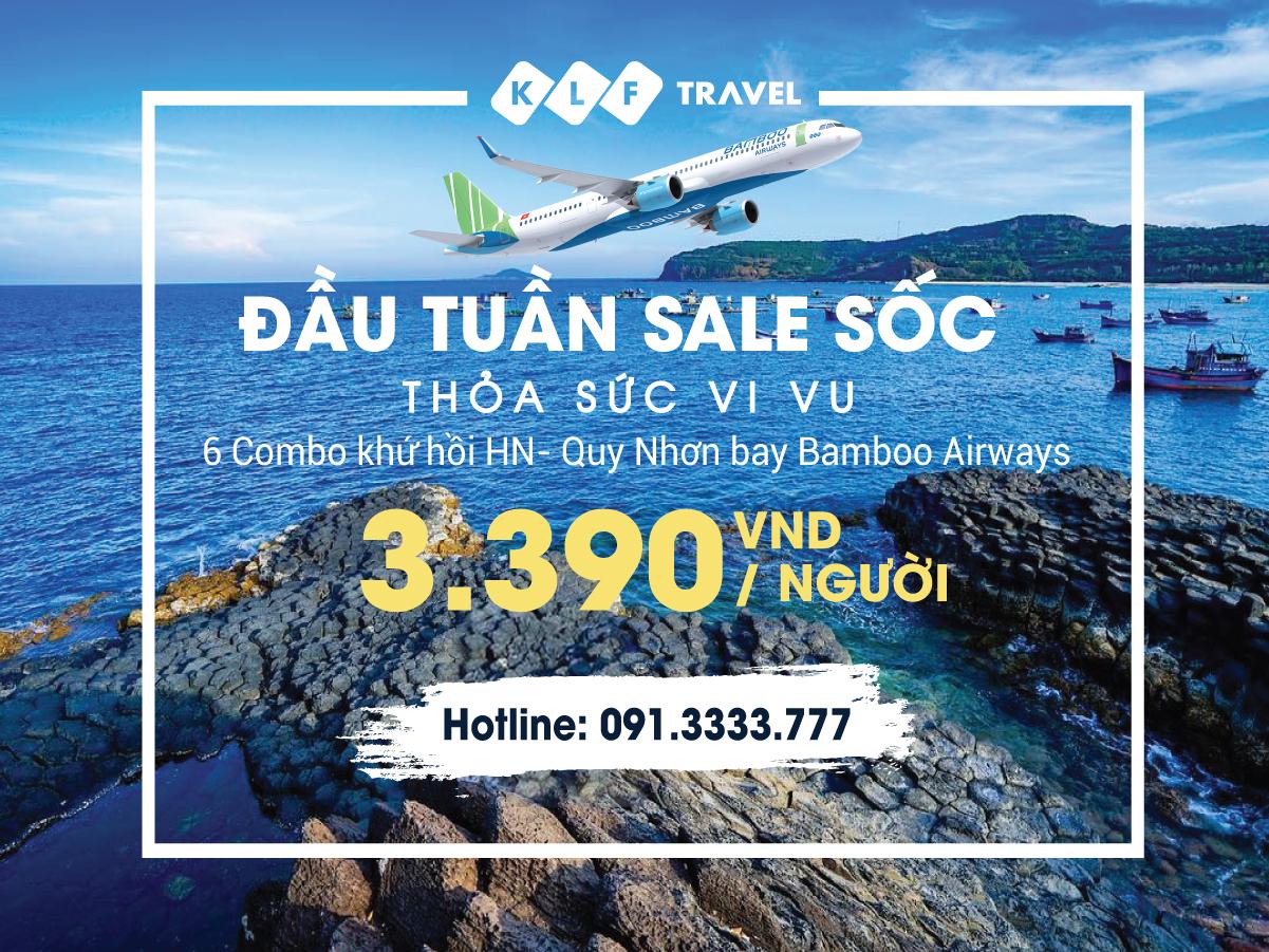 sale 6 Combo khứ hồi HN- Quy Nhơn bay Bamboo Airways chỉ 3,390K/ khách