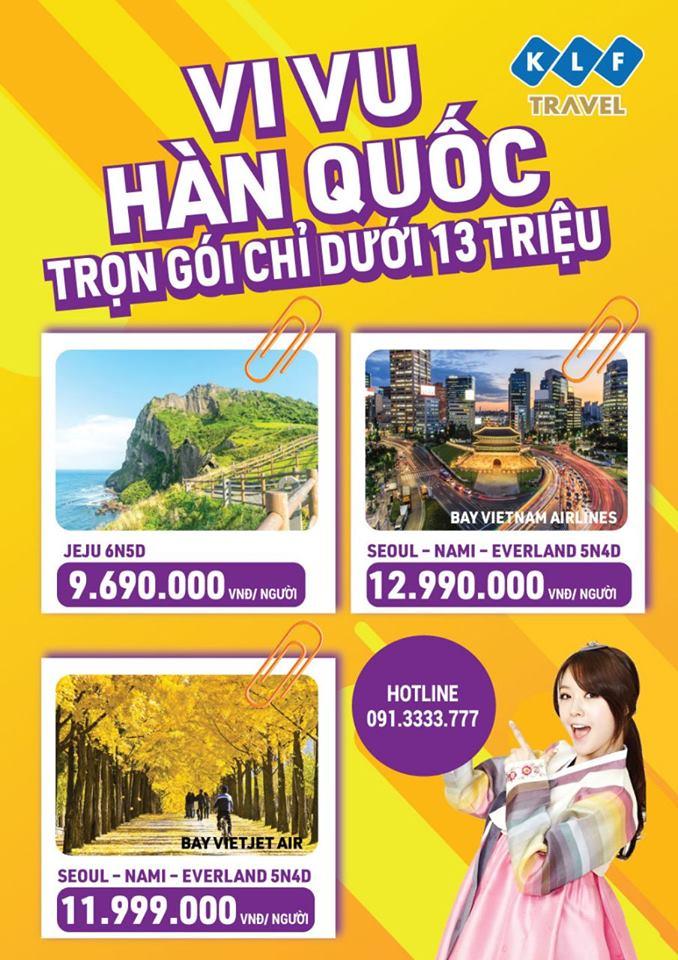 Vivu du lịch Hàn Quốc trọn gói chỉ dưới 13 triệu